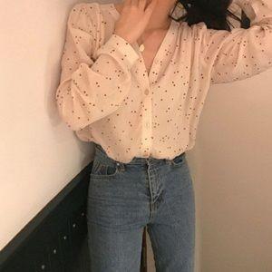 3/$20 Korean style heart print blouse